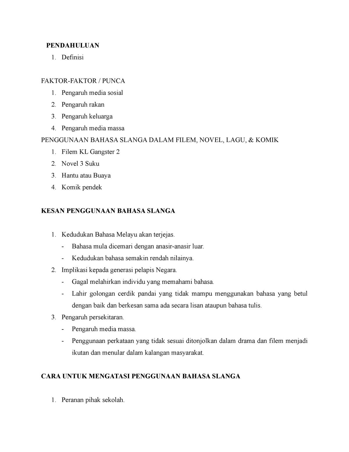 Kesan Penggunaan Bahasa Slanga Sblm1053 Uum Studocu