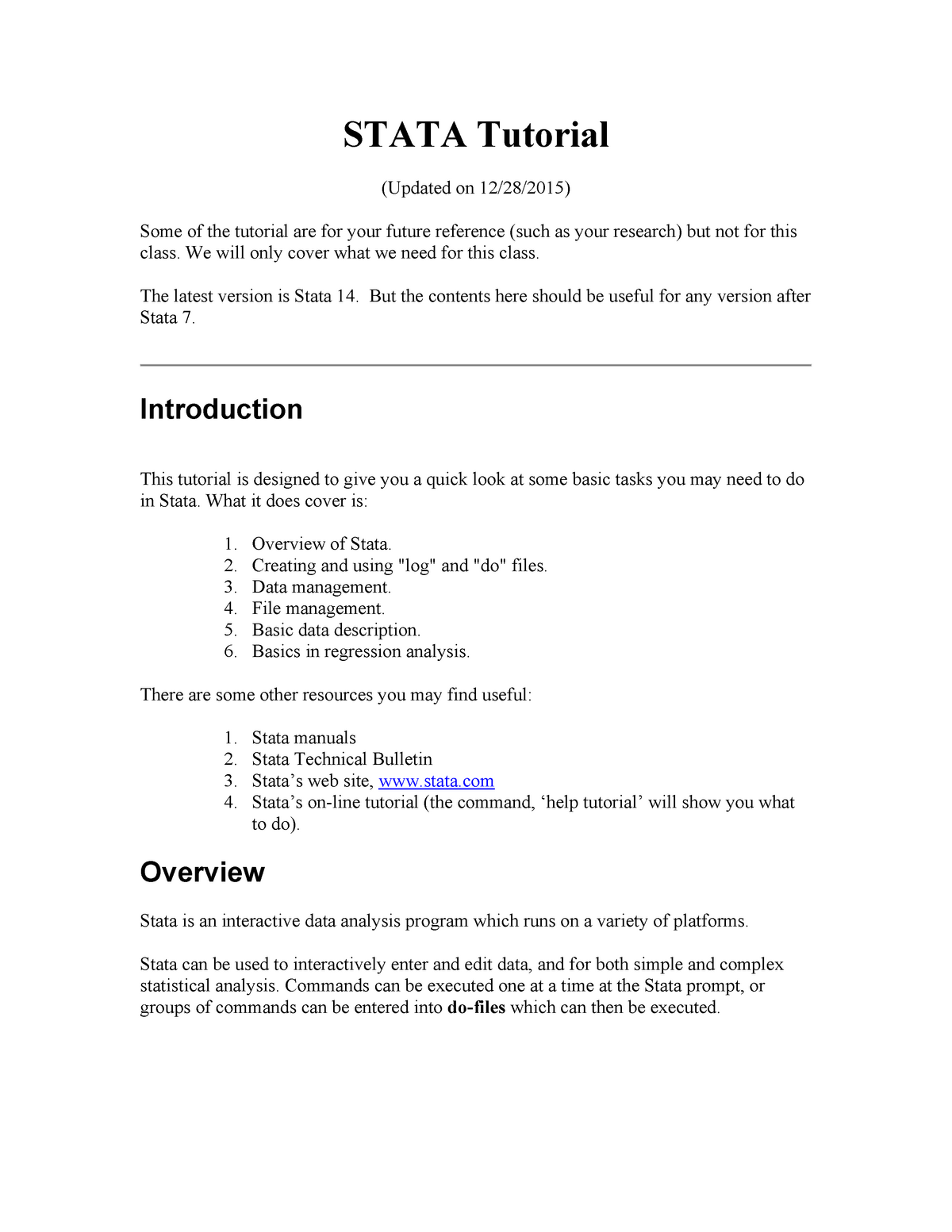 Stata tutorial - ECON 4355: Econometrics - StuDocu