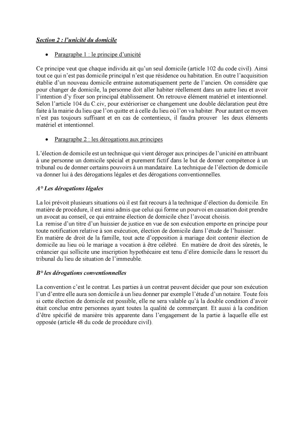 Droit civil chapitre le domicile section 9 - StuDocu