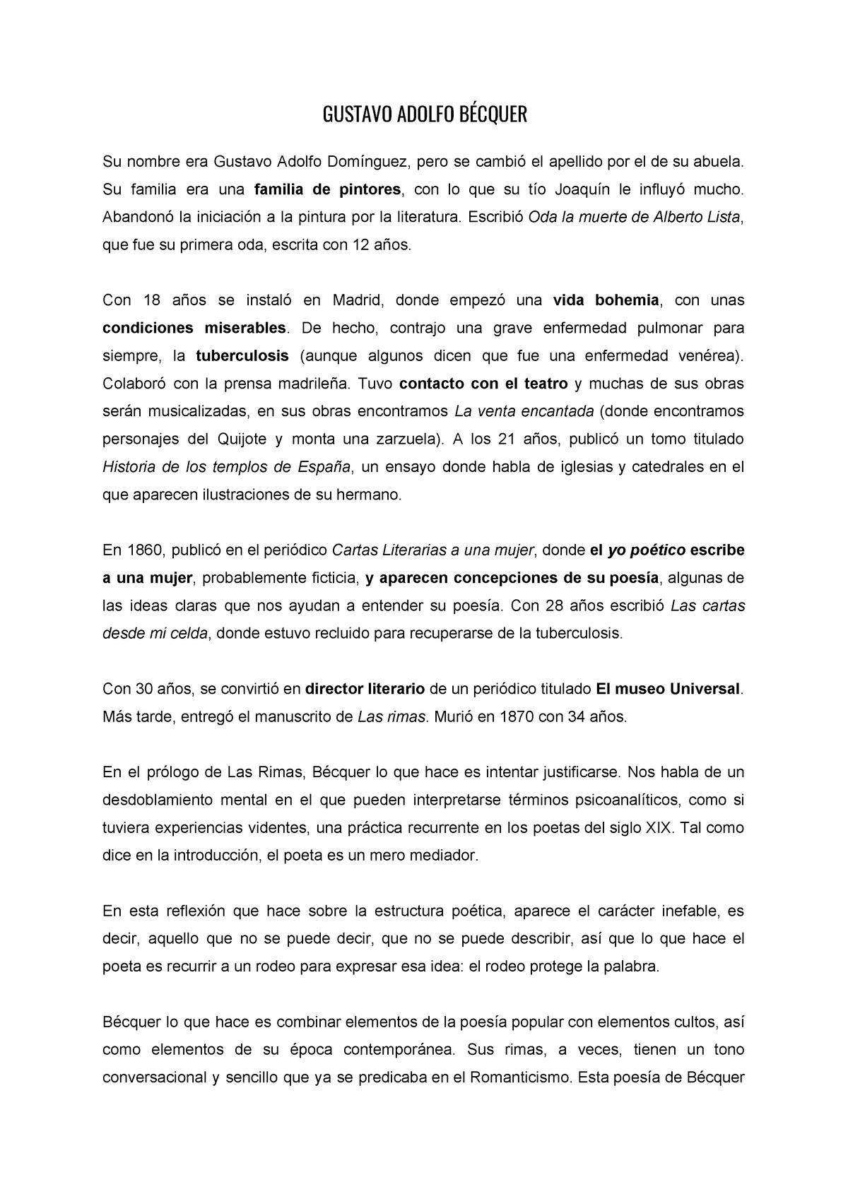 Gustavo Adolfo Bécquer Ub Studocu
