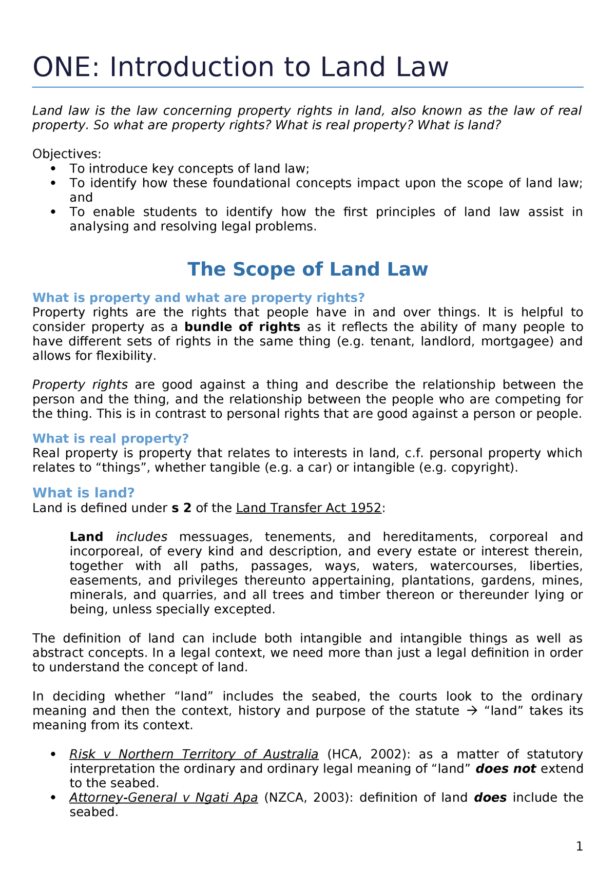 1 - brief introduction to NZ Land Law - Land Law LEGAL307