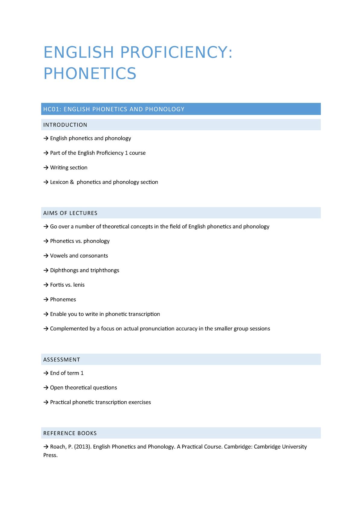 Summary - Phonetics - English proficiency 1 - StuDocu