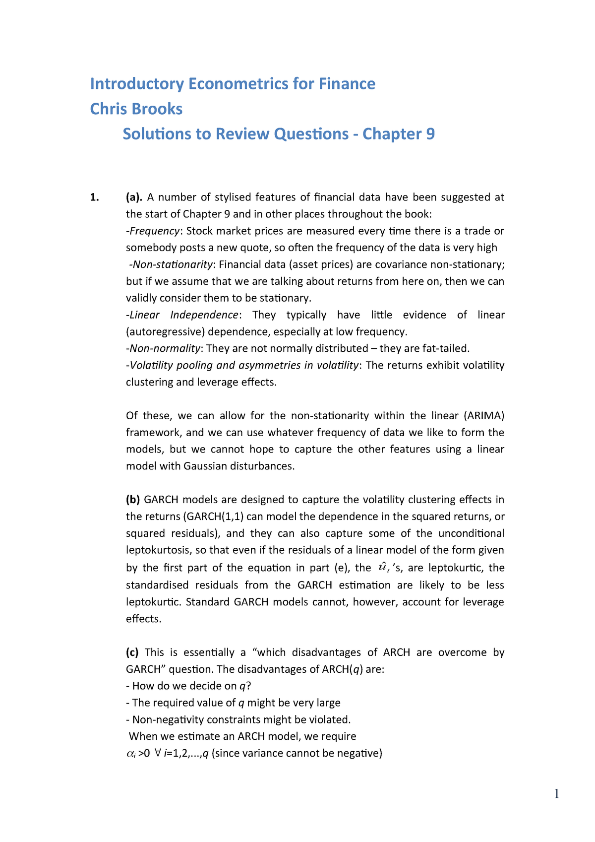 Chapter 9 solutions - Solution manual Introductory Econometrics for
