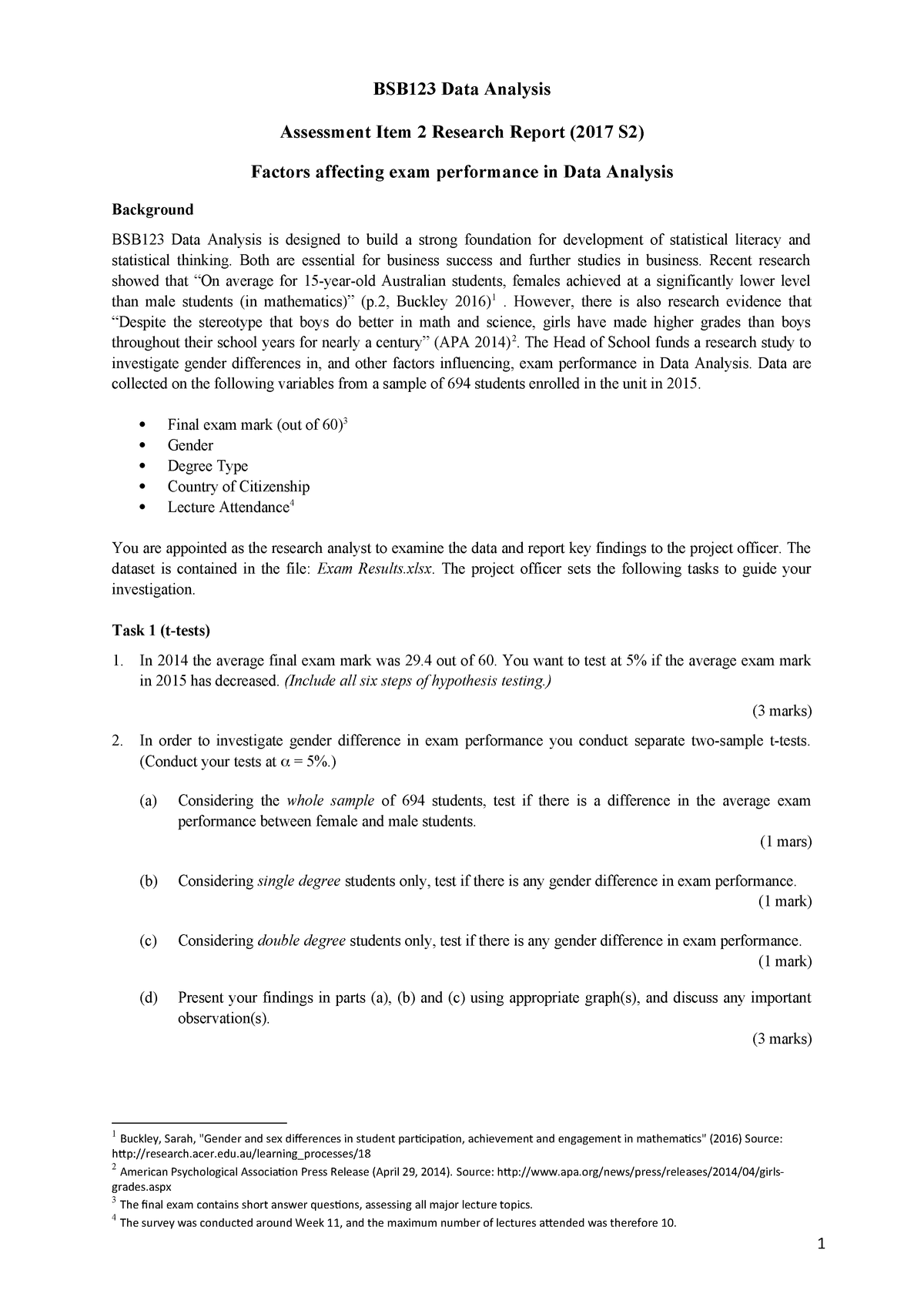 BSB123 Research Report Task Sheet (2017 S2) revised - BSB123: Data
