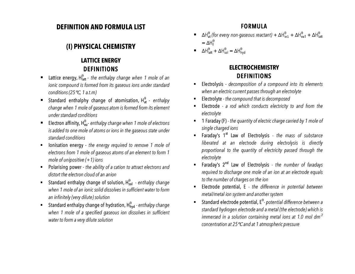 Defn list - Definition list for CIE A-Level Chemistry 9701 - CHEM