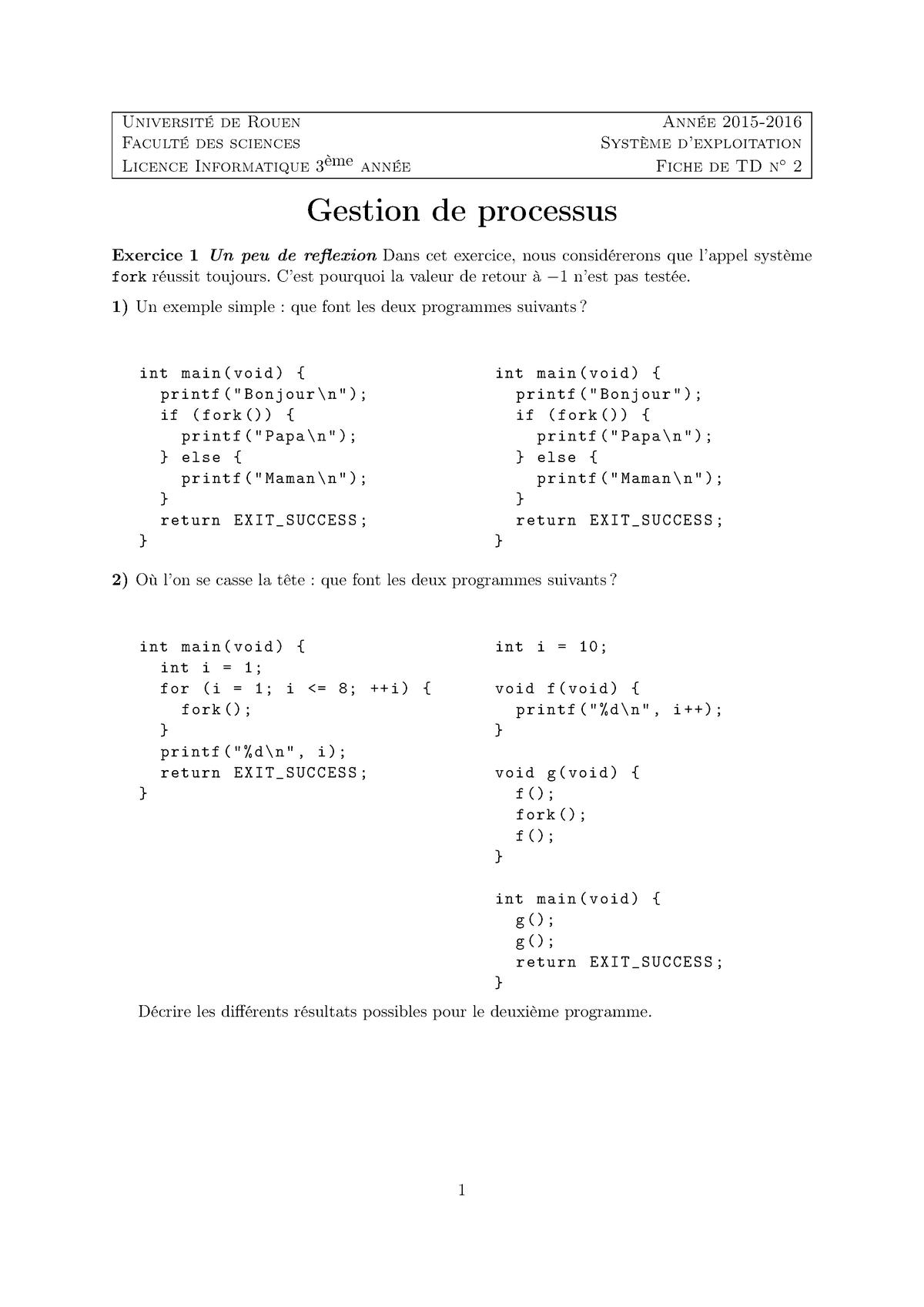 Td2 Tp2 Td Les Elements D Un Systeme D Exploitation Studocu