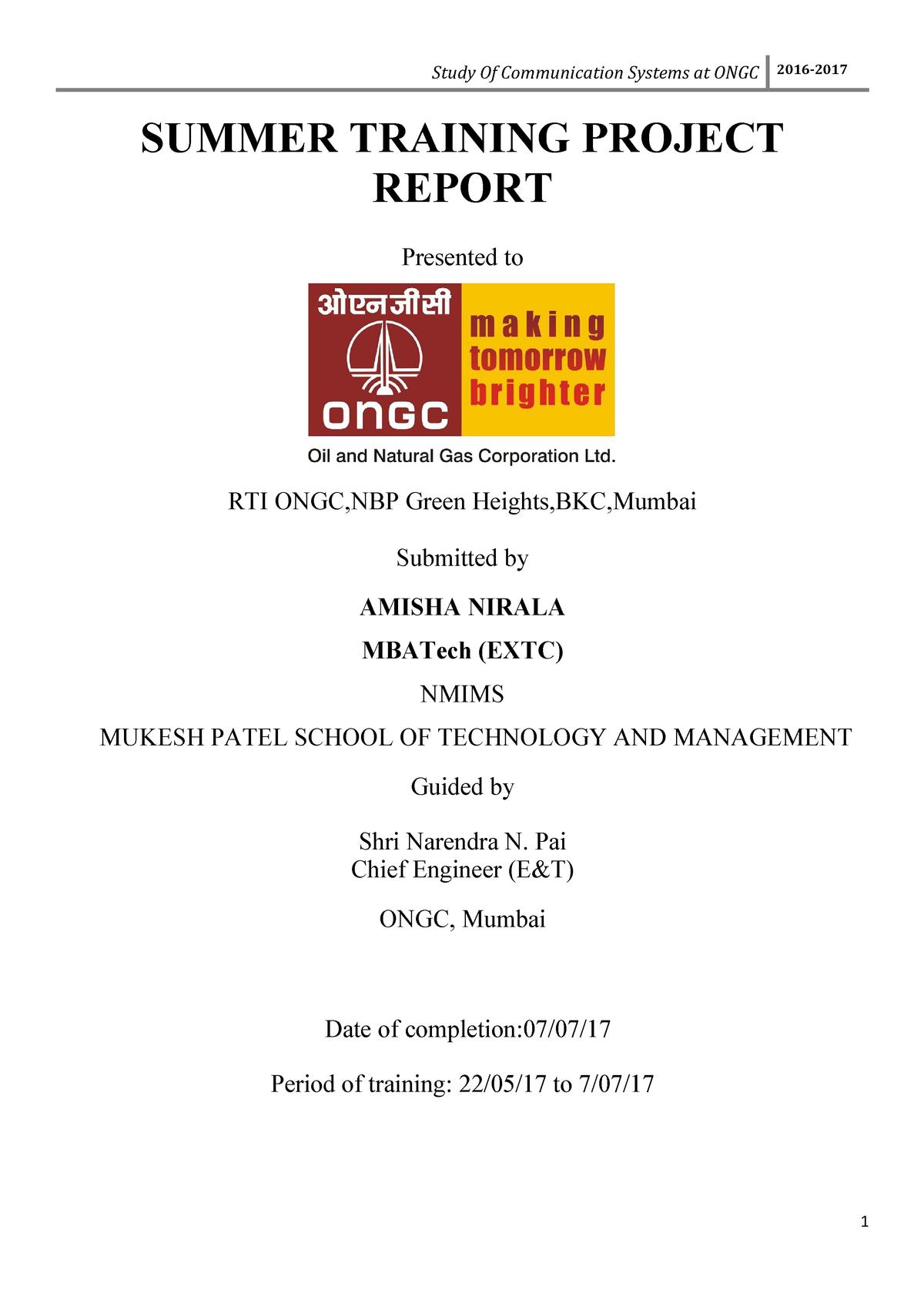 ONGC Training Report Amisha - OECS 231: Data Cmnctns/Ntwrk Ii - StuDocu