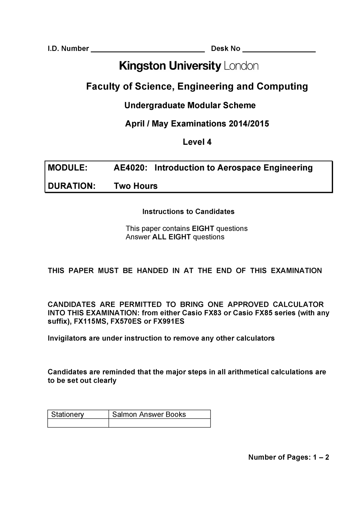 Exam 2015 - AE4020: Introduction to Aerospace Engineering - StuDocu