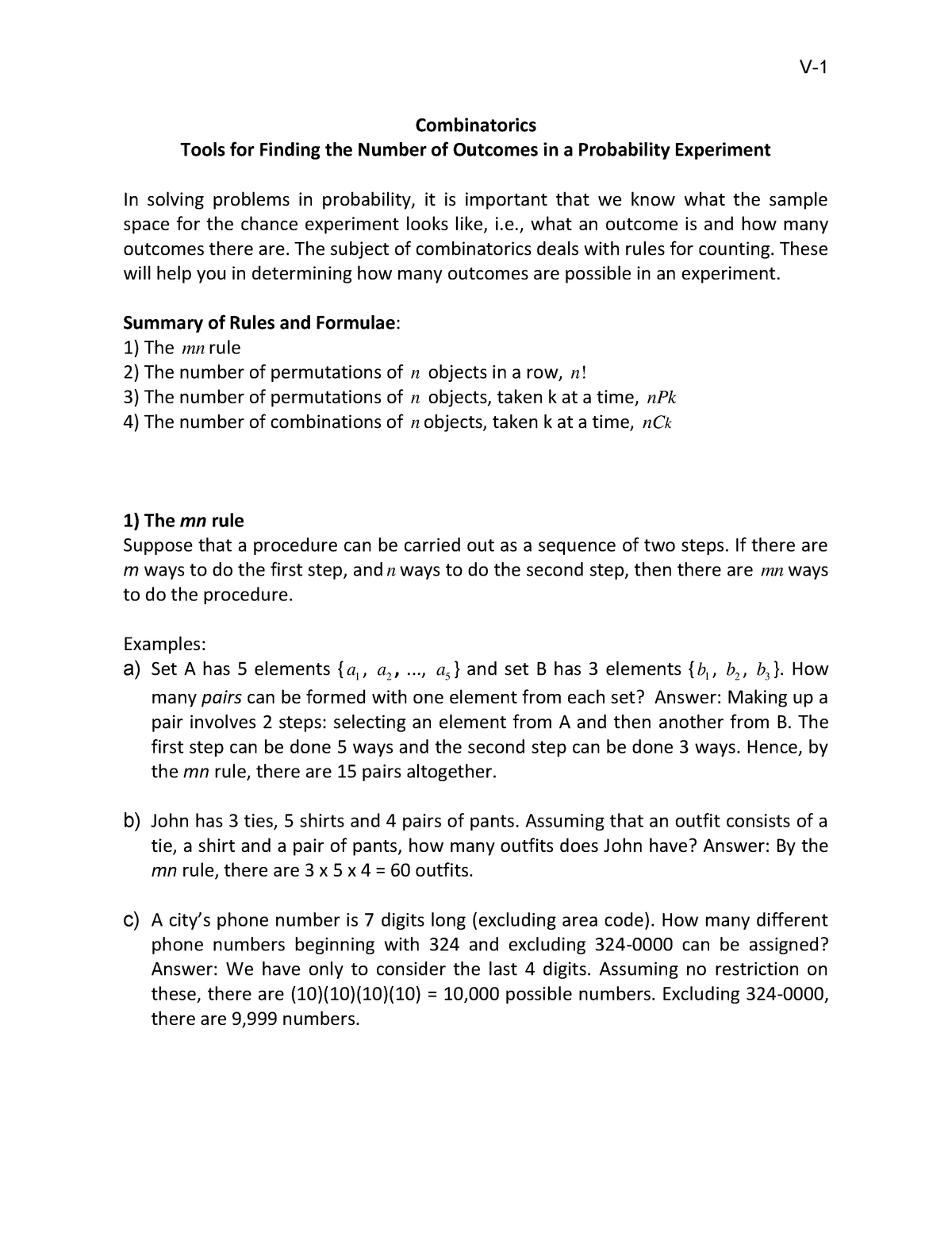 Chapter 5 - Combinatorics - STAT 1181: Descriptive and Elementary