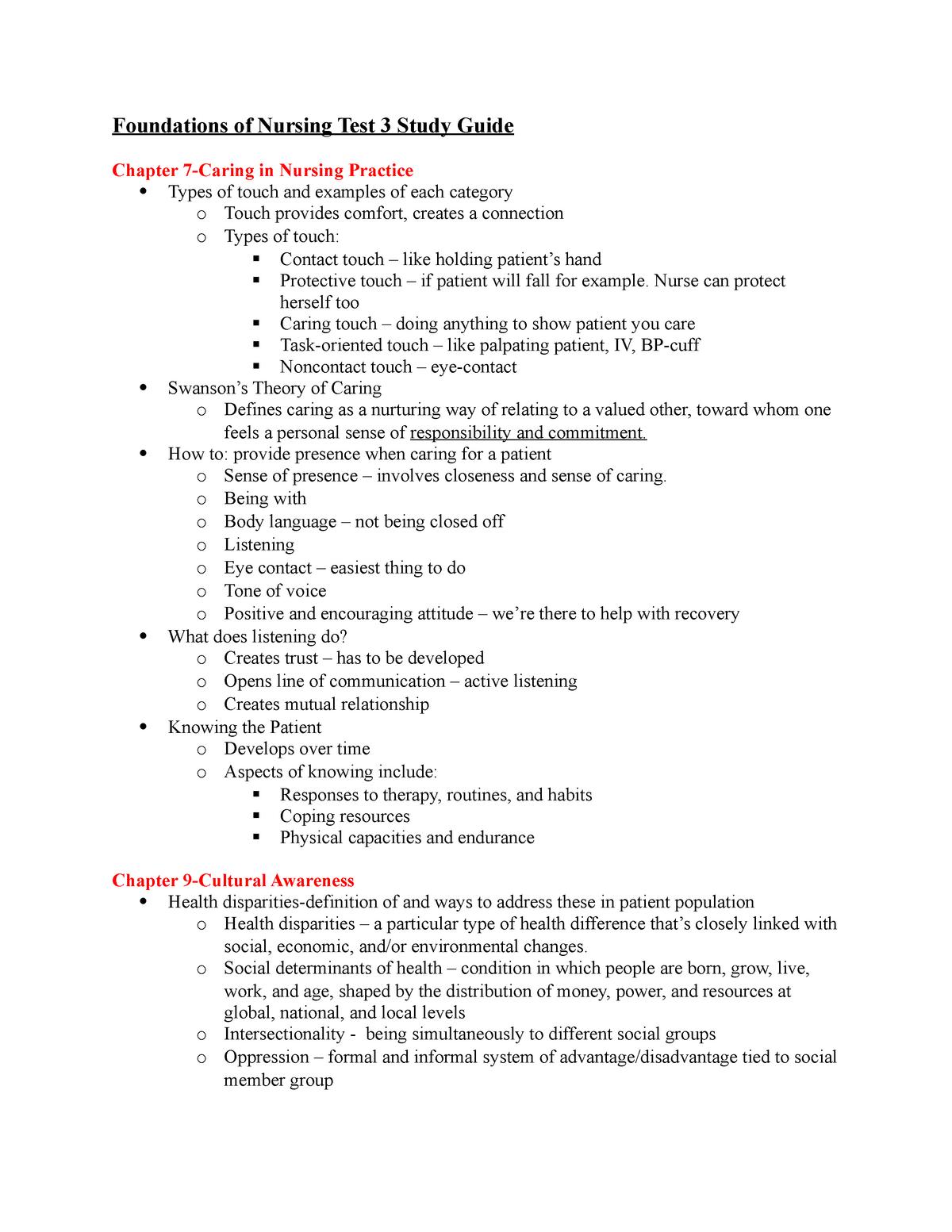 Funds Exam Study Guide - NURS 305 : Foundations of Nursing - StuDocu