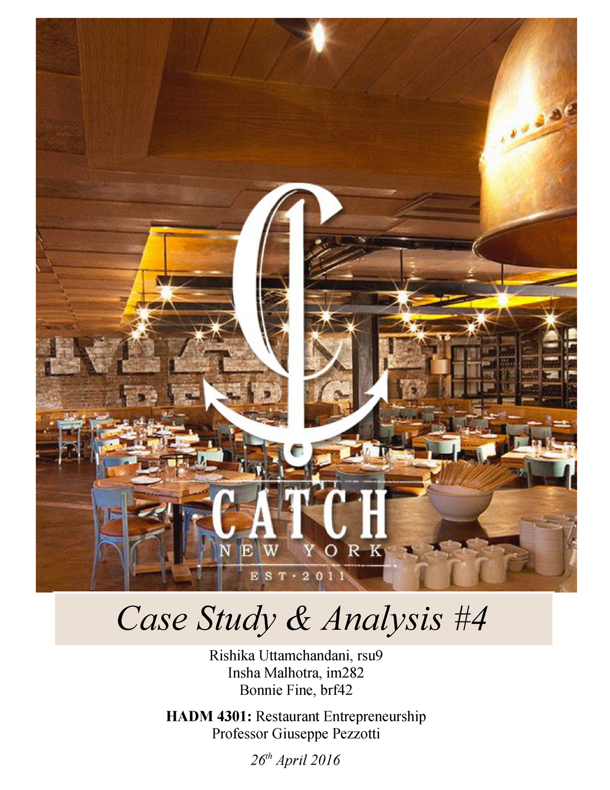Exam 2016 - HADM 4301: Restaurant Entrepreneurship - StuDocu