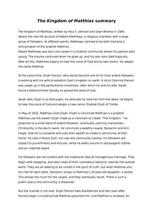 kingdom of matthias summary free