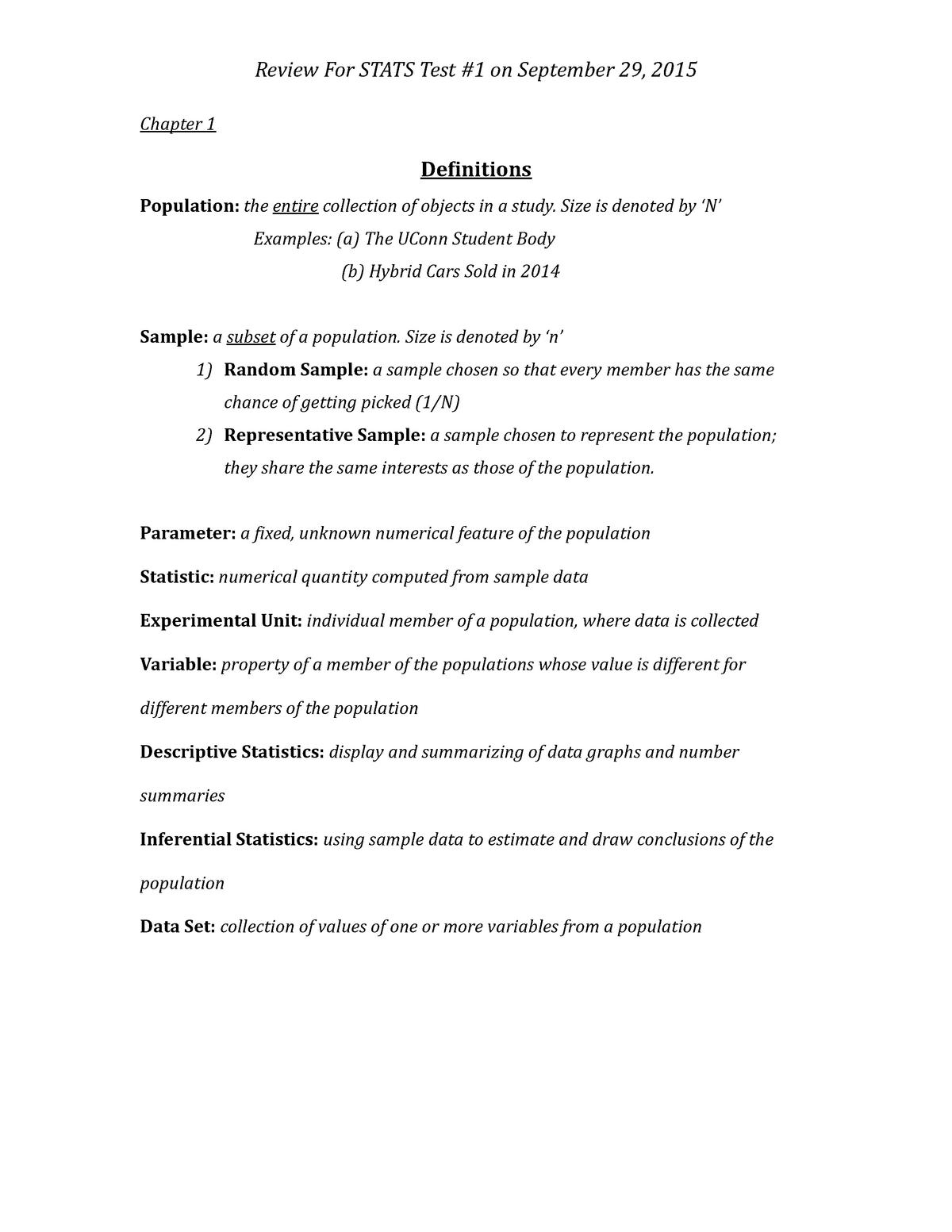 Summary STAT 1100Q STAT 1100Q 19 Oct 2018 - StuDocu