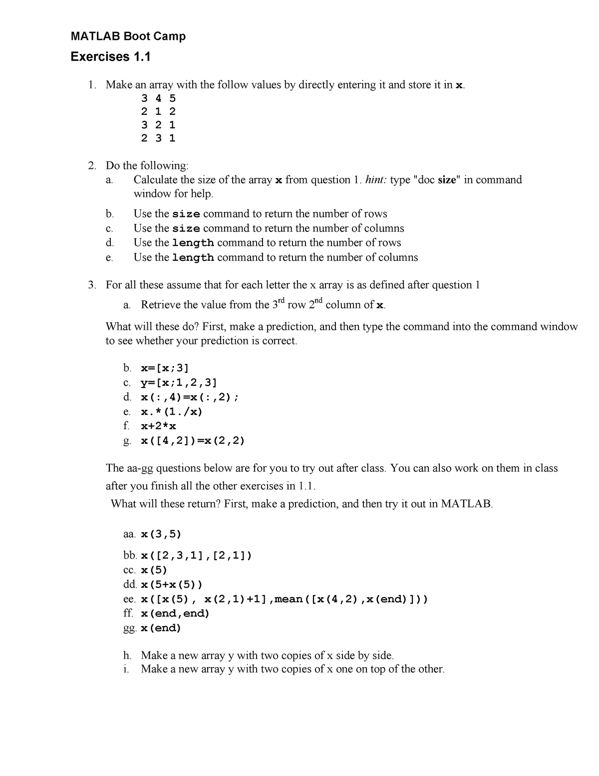 Matlab - Lesson 1 handouts Exercise 11 12 homework 1