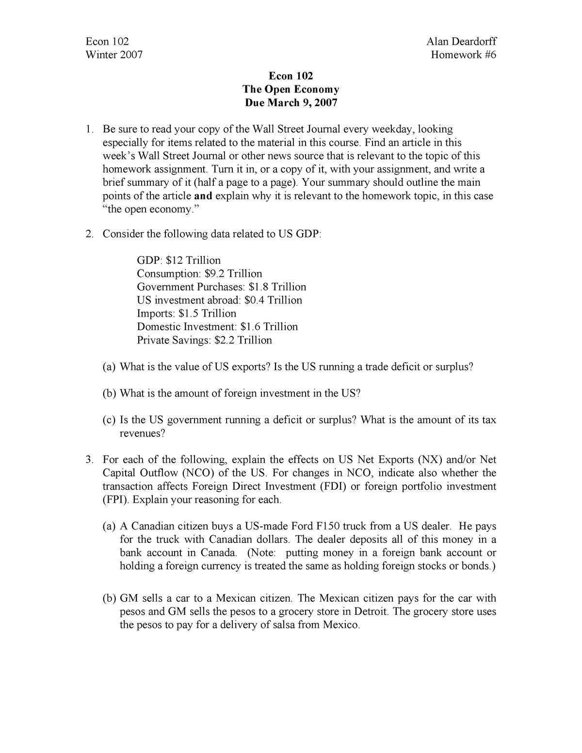 Seminar assignments - Homework assignment 6 - ECON 102