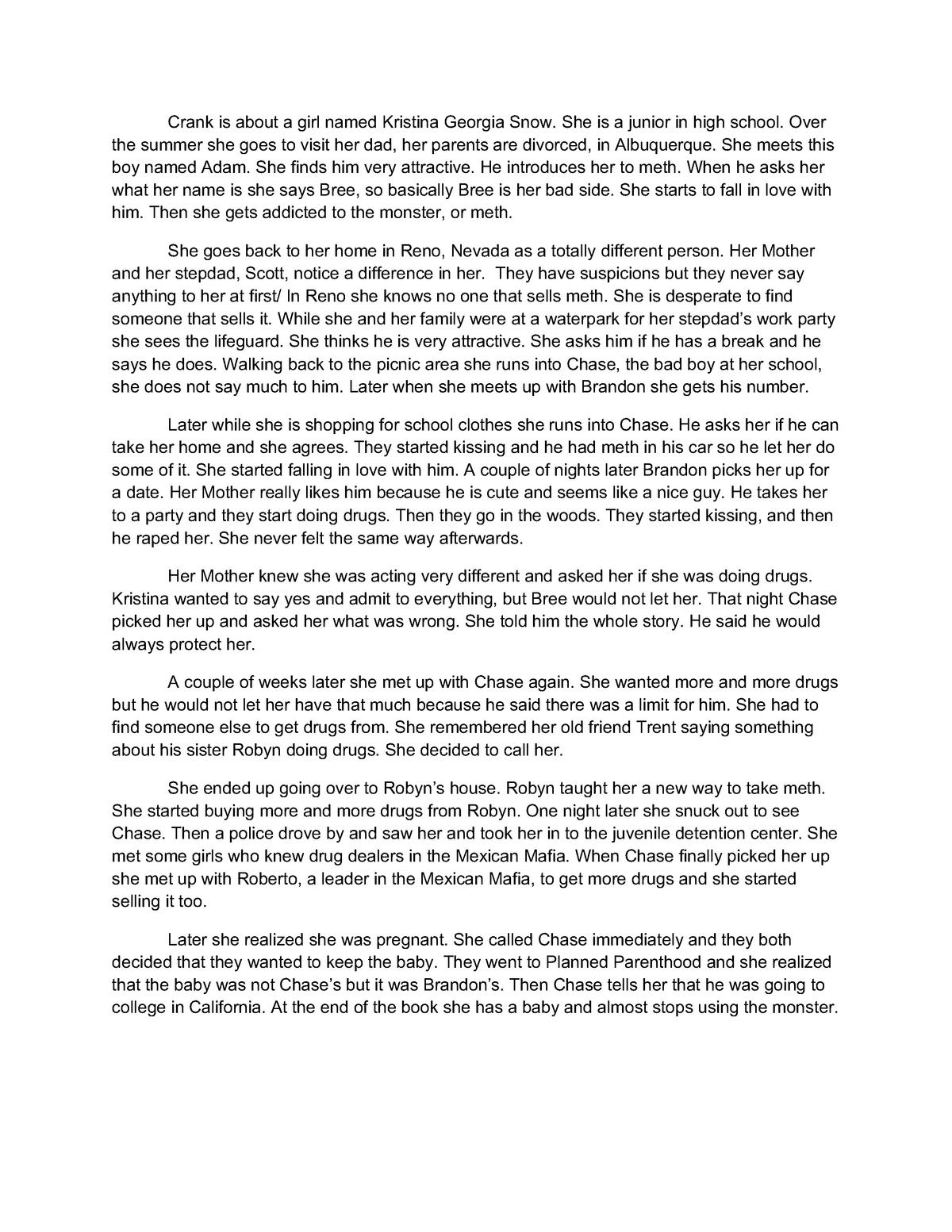 Crank Book Report - Grade: A - EH 101: English Composition I