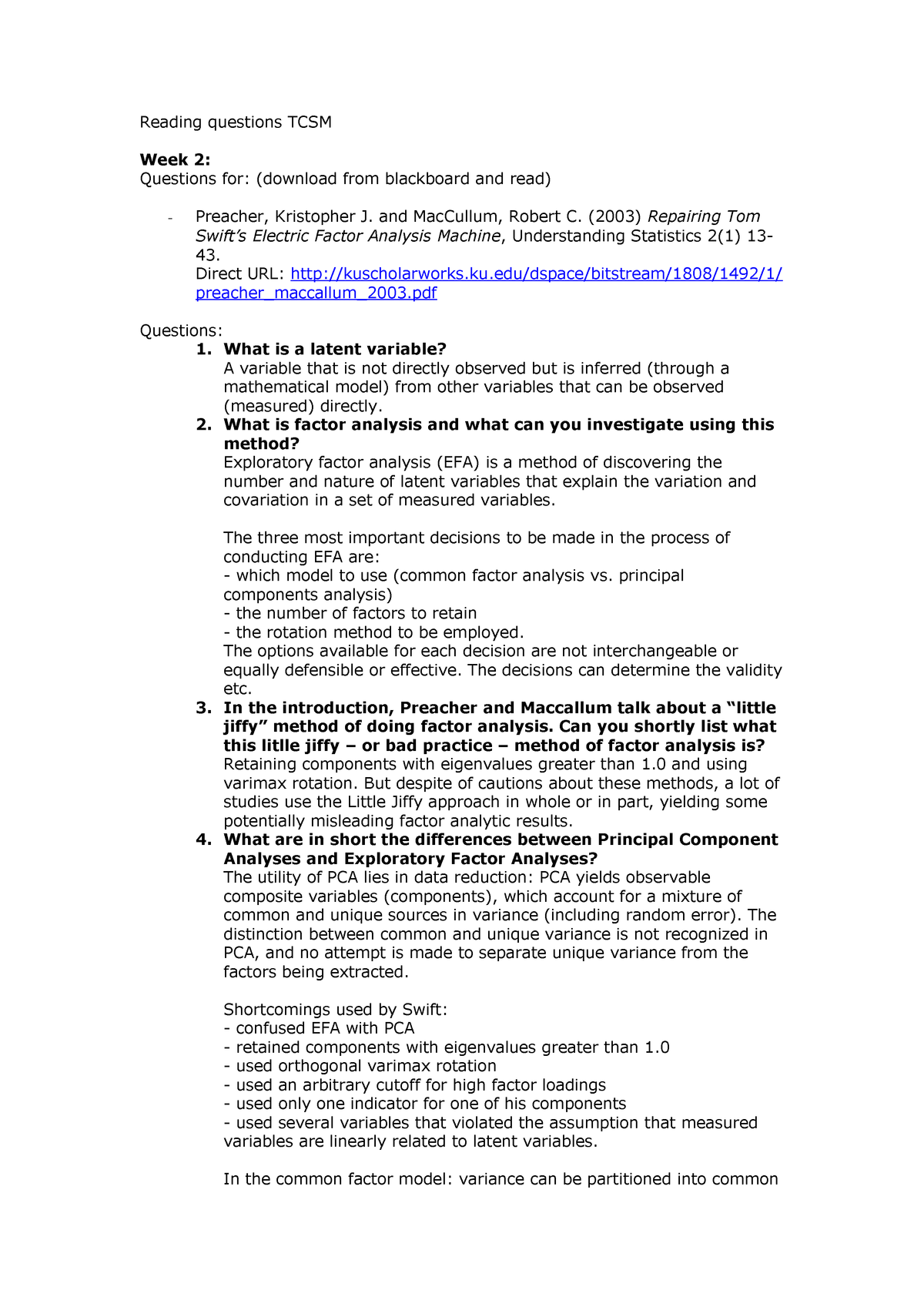 W2 Reading questions TCSM - 200300125: MK: Theory