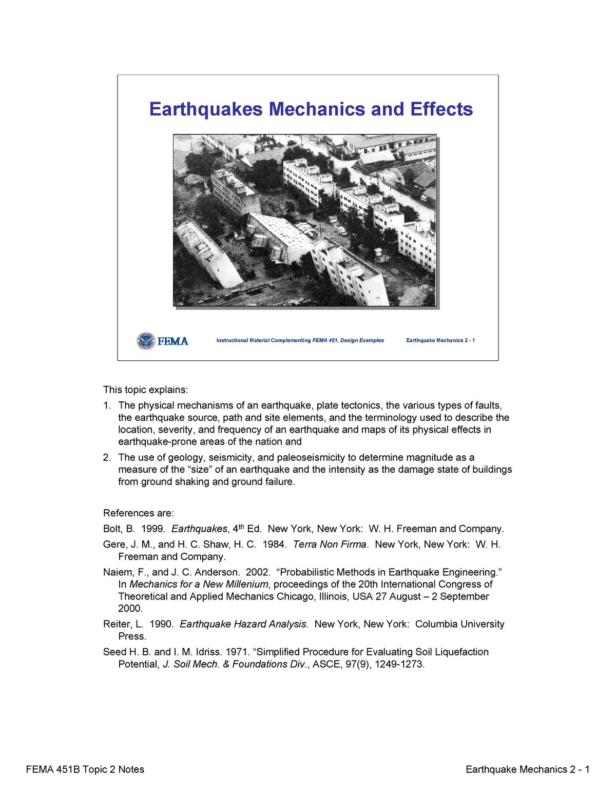 Topic 02 Earthquake Mechanicsand Effects Notes Civl 8119 Studocu