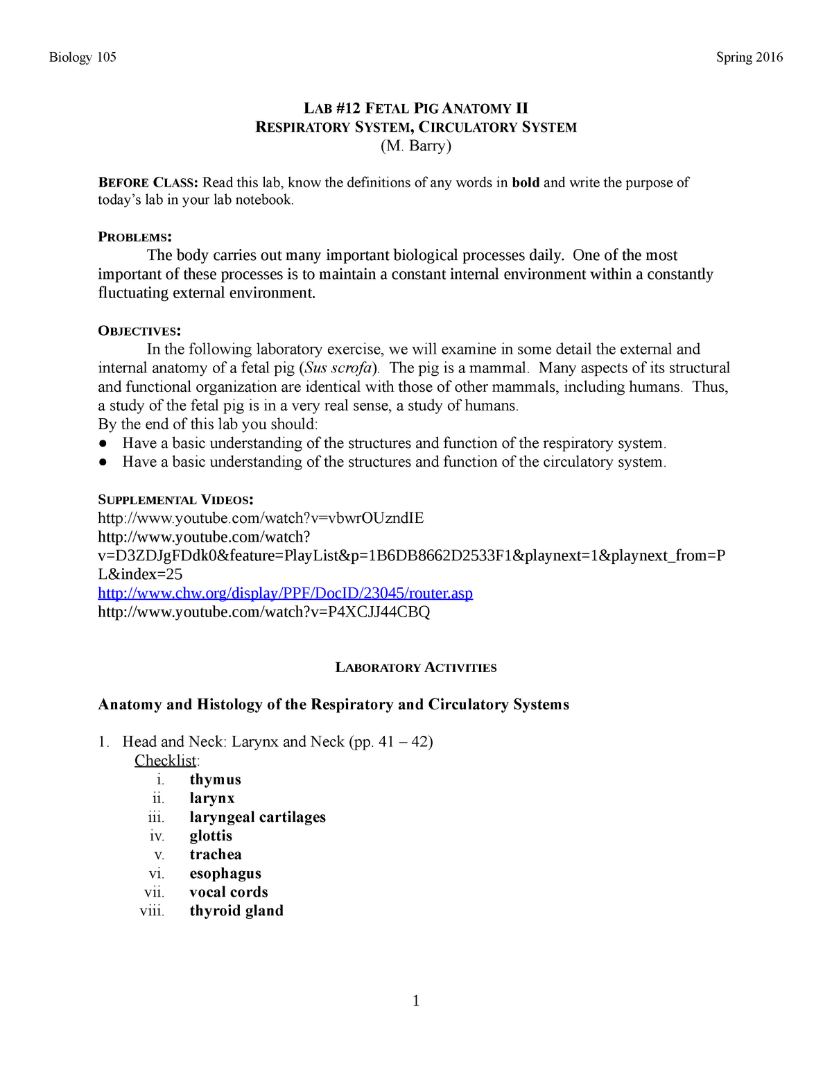12 fetal pig II - notes - BIOL 105: General Biology