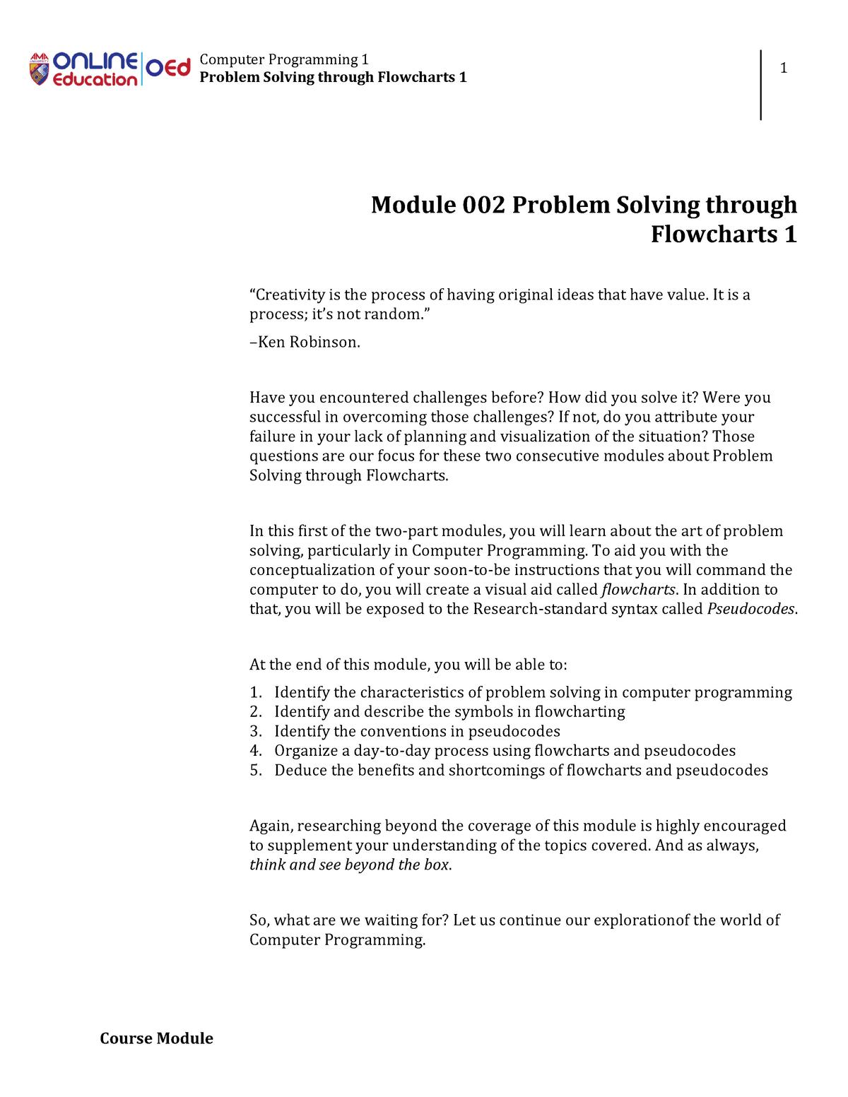 Week002-Module Problem Solving Through Flowcharts - Bachelor of