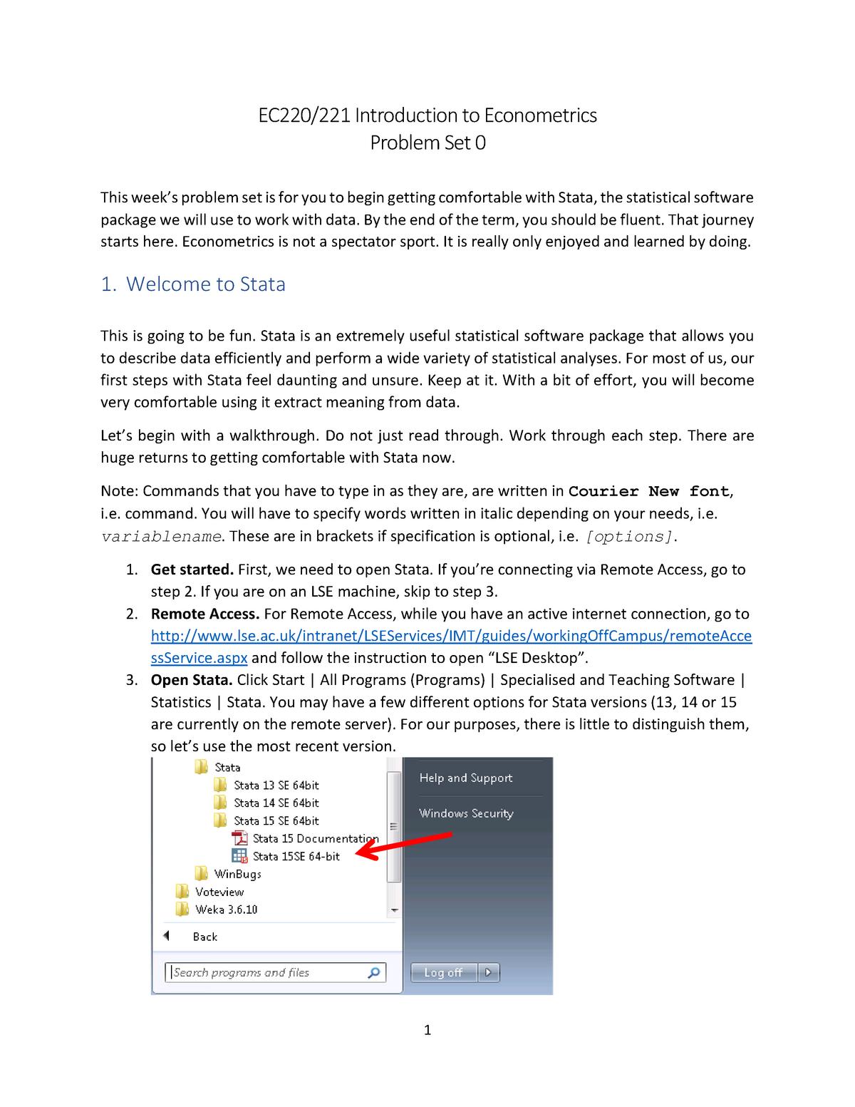 EC220 - hw answer - EC220: Introduction to Econometrics