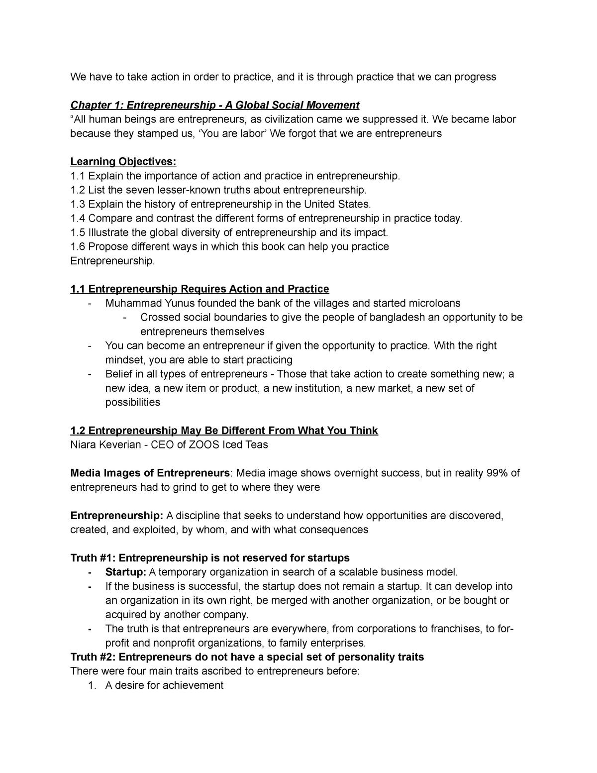 Chapter One Notes - MGT3064 - Virginia Tech - StuDocu