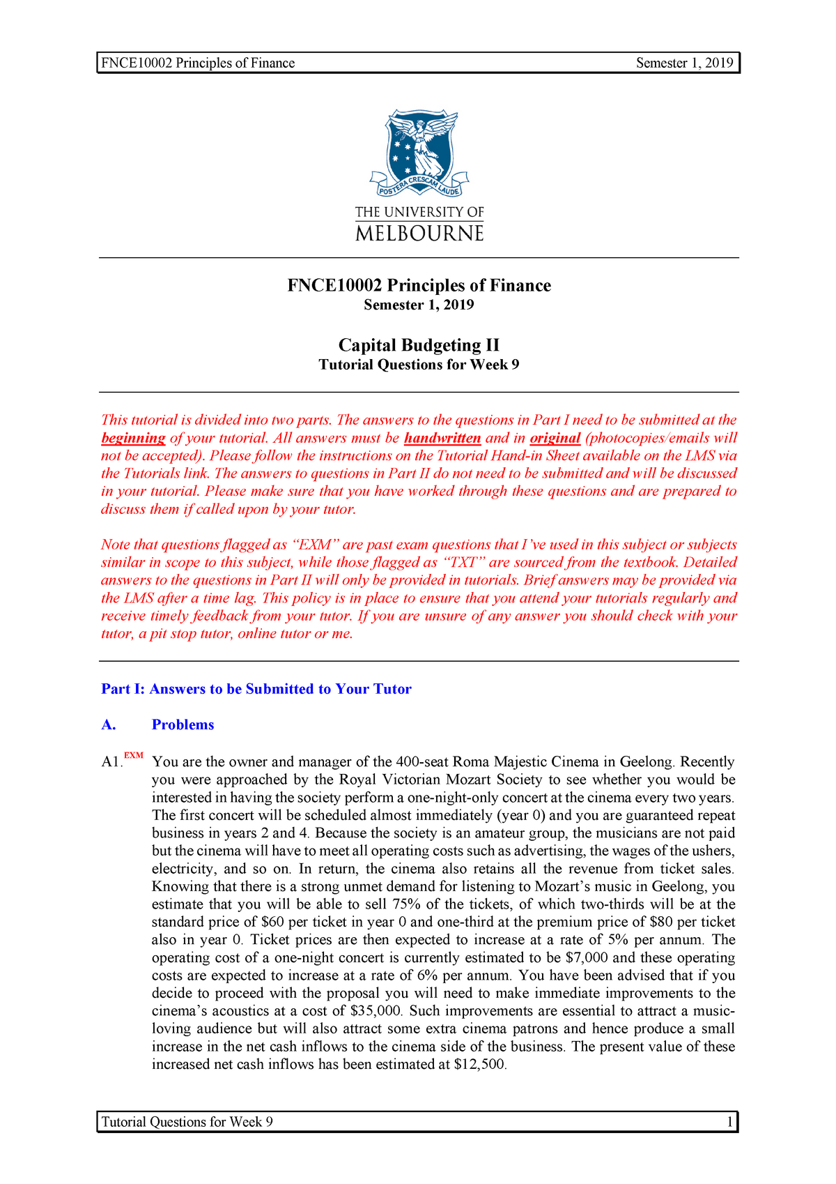 Tutorial 09 (LMS) - FNCE10002: Principles of Finance - StuDocu