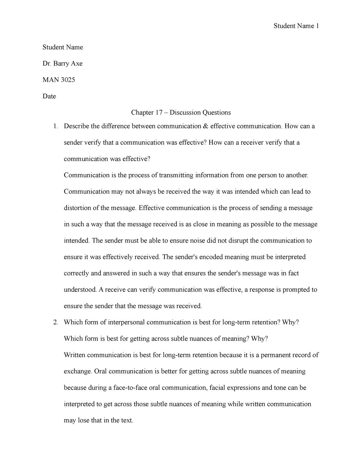 Discussion Questions Ch 17 - MAN 3025 - FAU - StuDocu