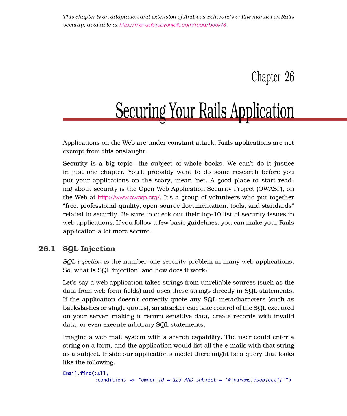 Chapter 26 - Securing Your Rails Application - EDA397: Agile