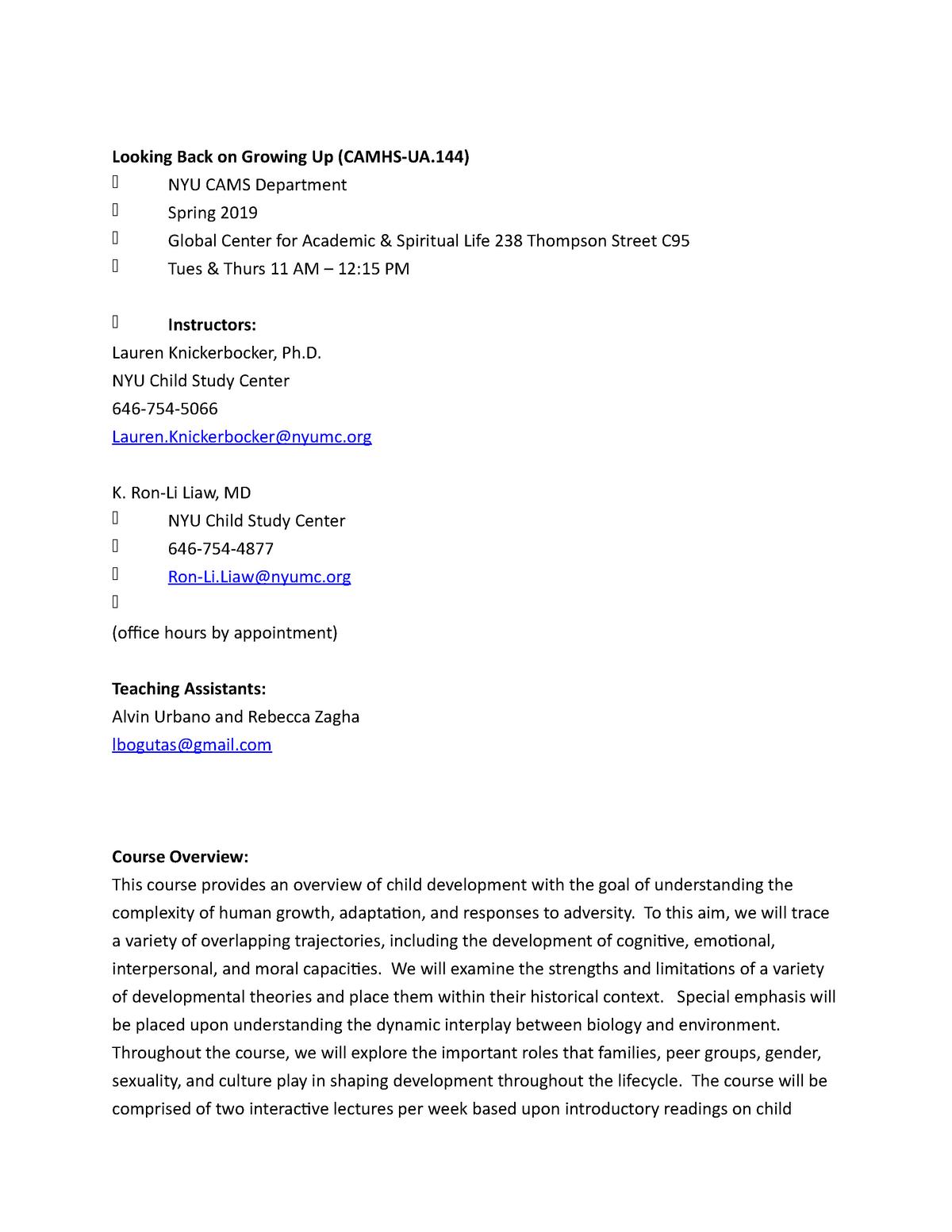 LBGU Syllabus Spring 2019 - CAMSUA144 - StuDocu