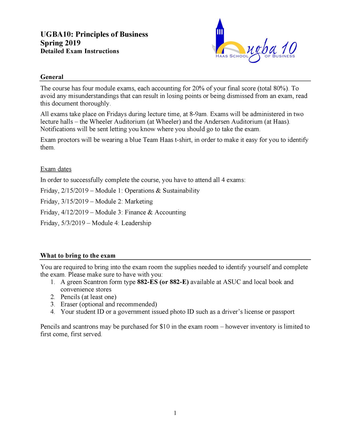 2  Detailed Exam Instructions – Spring 2019 v F - UGBA 10