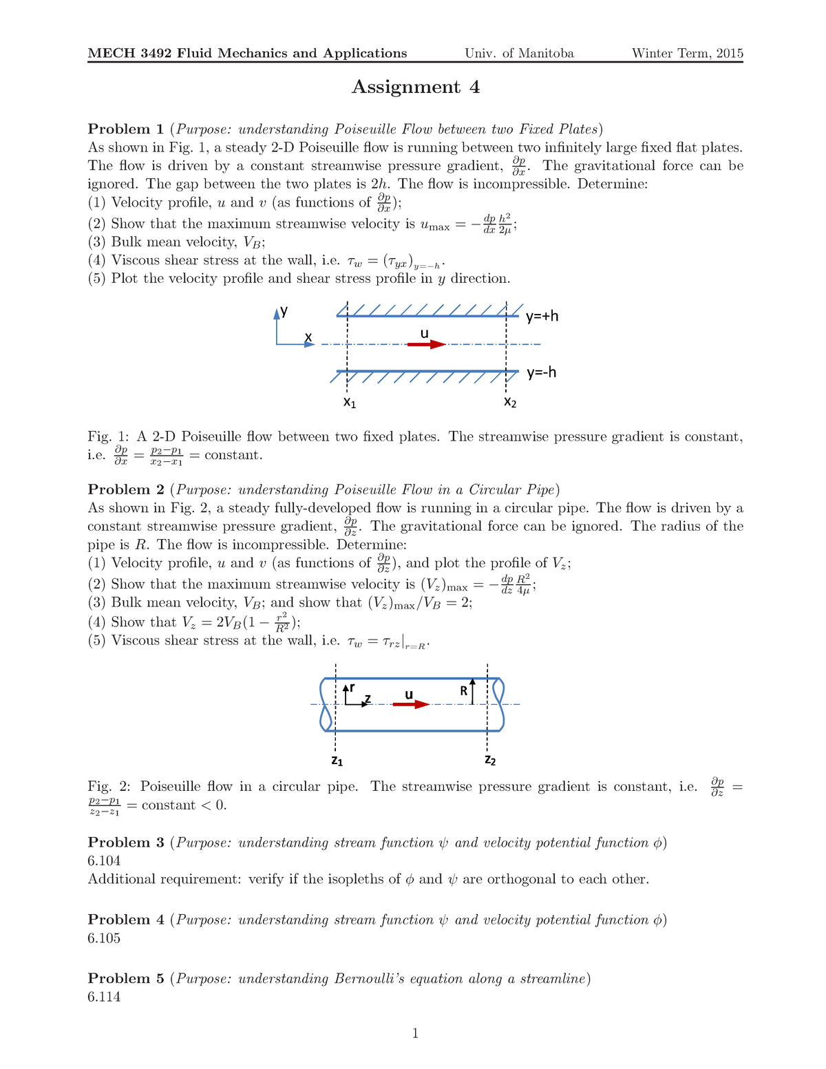 Fluid Mechanics And Applications Assignment 4 with solutions