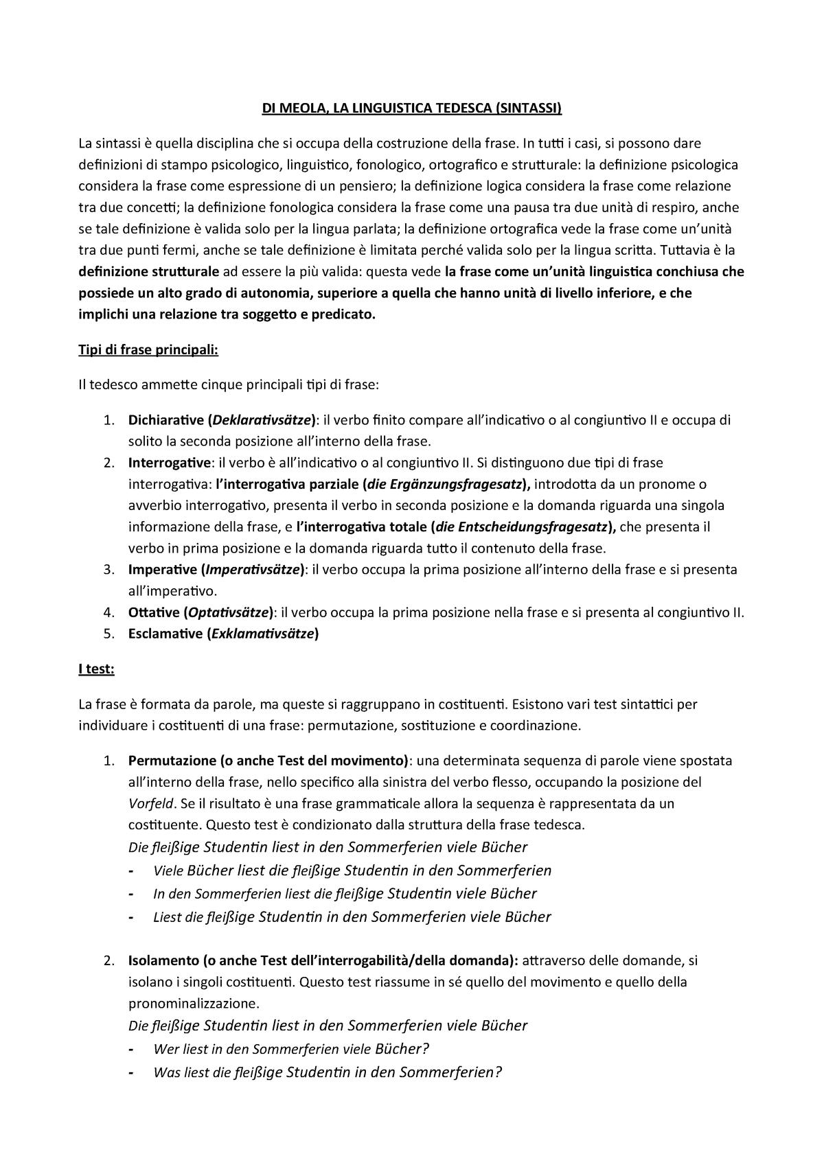 Sintassi Di Meola Riassunto Lingua Tedesca 1 32 17 047