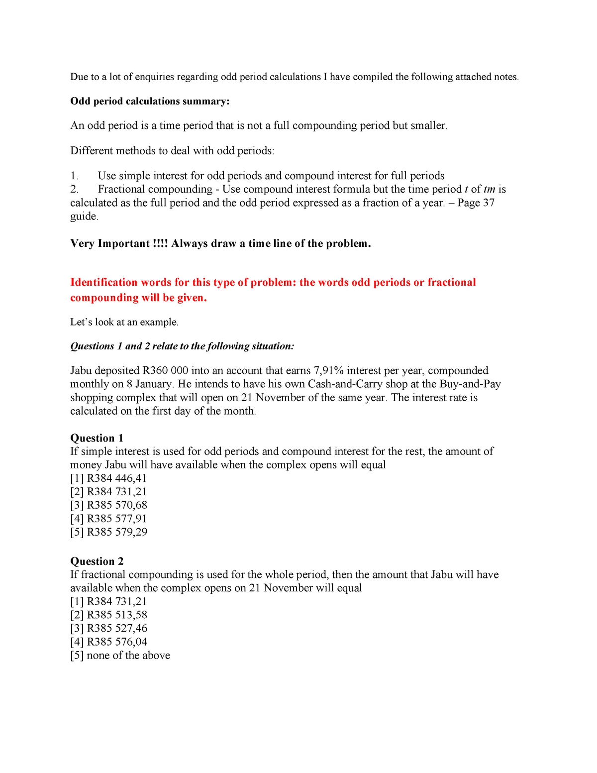 Lecture notes - Introductory Financial Mathematics - Odd