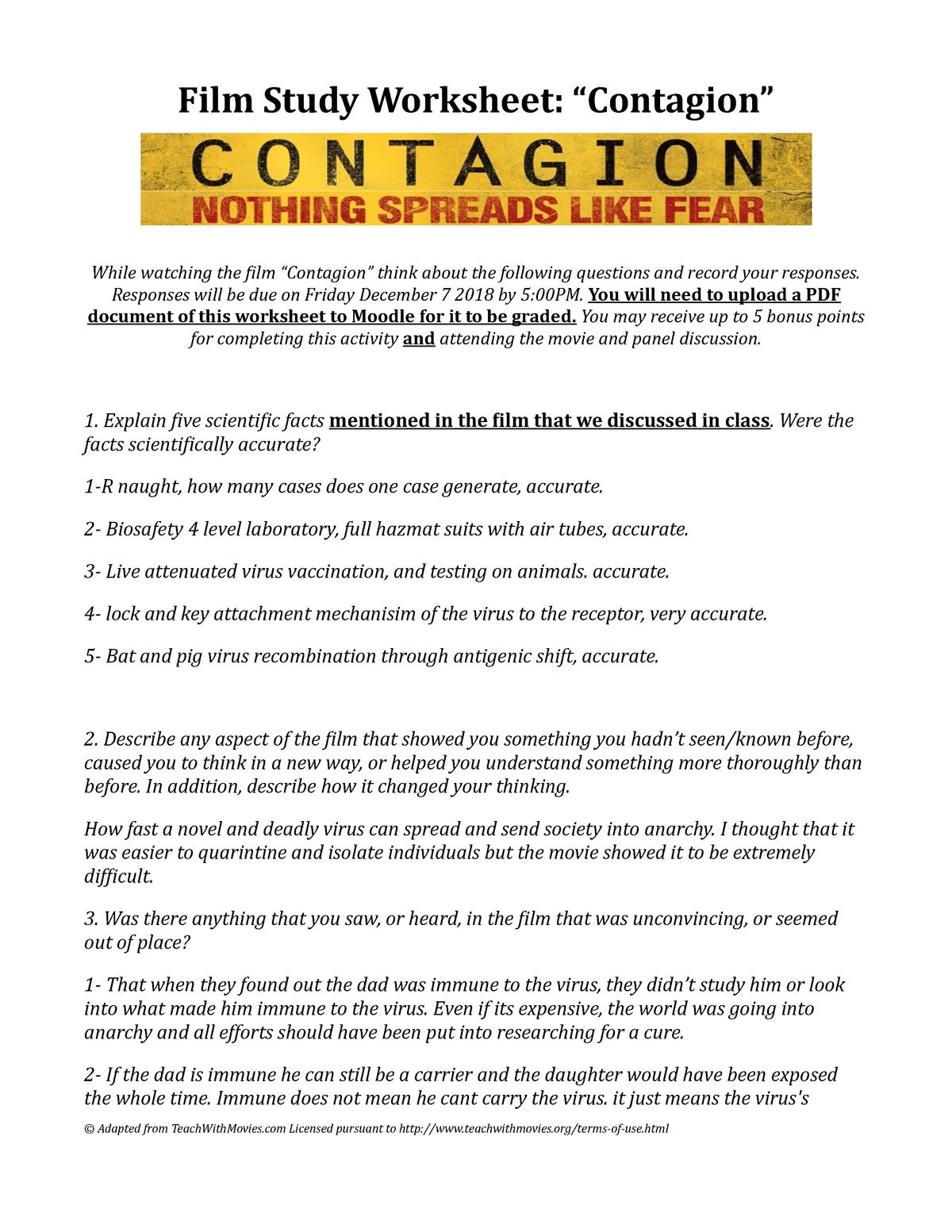 Contagion Movie Worksheet Fall 2018 Mb 351 Studocu