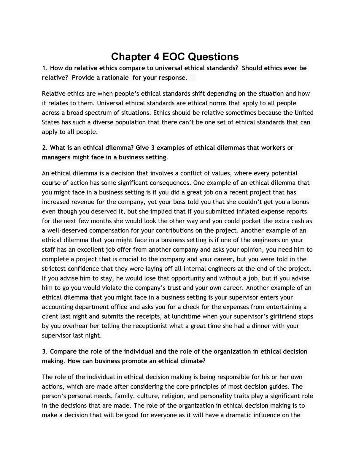 BUS 1750 - Chapter 4 EOC Questions - BUS 1750 - WMU - StuDocu