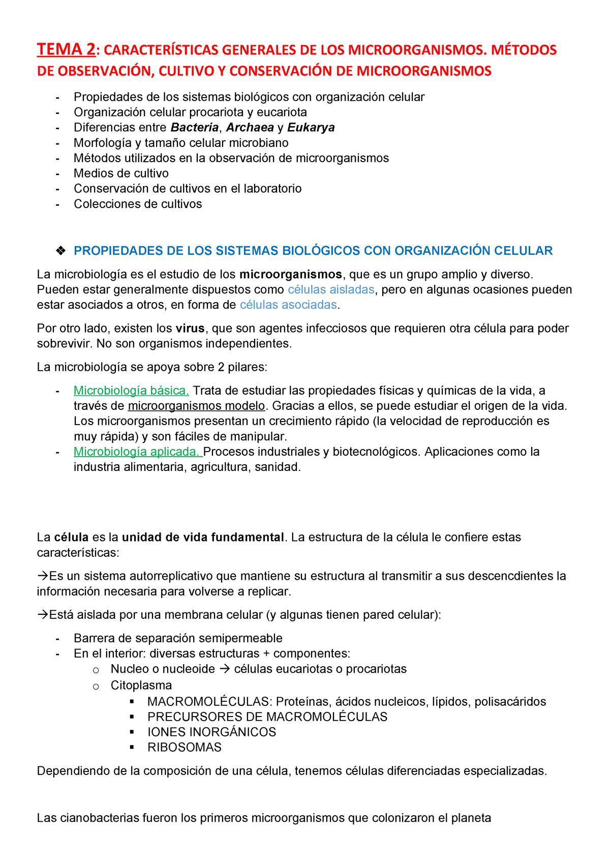Tema 2 Microbiologia Apuntes 2 Microbiología 6922 Uco