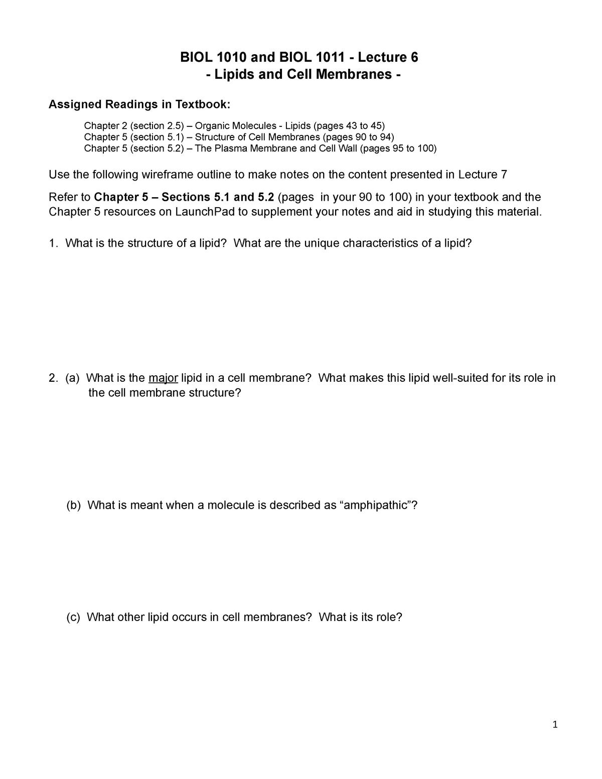 BIOL1010-1011-L6-Lipids and Membranes-WF - MEFB 460: Math