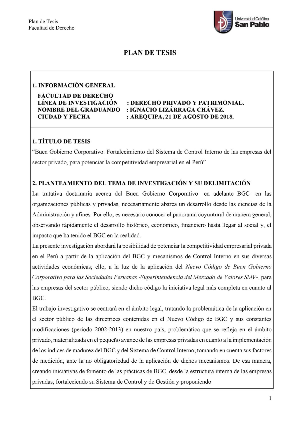 Tesis Gobierno Corporativo Y Sistema De Control Interno 2018