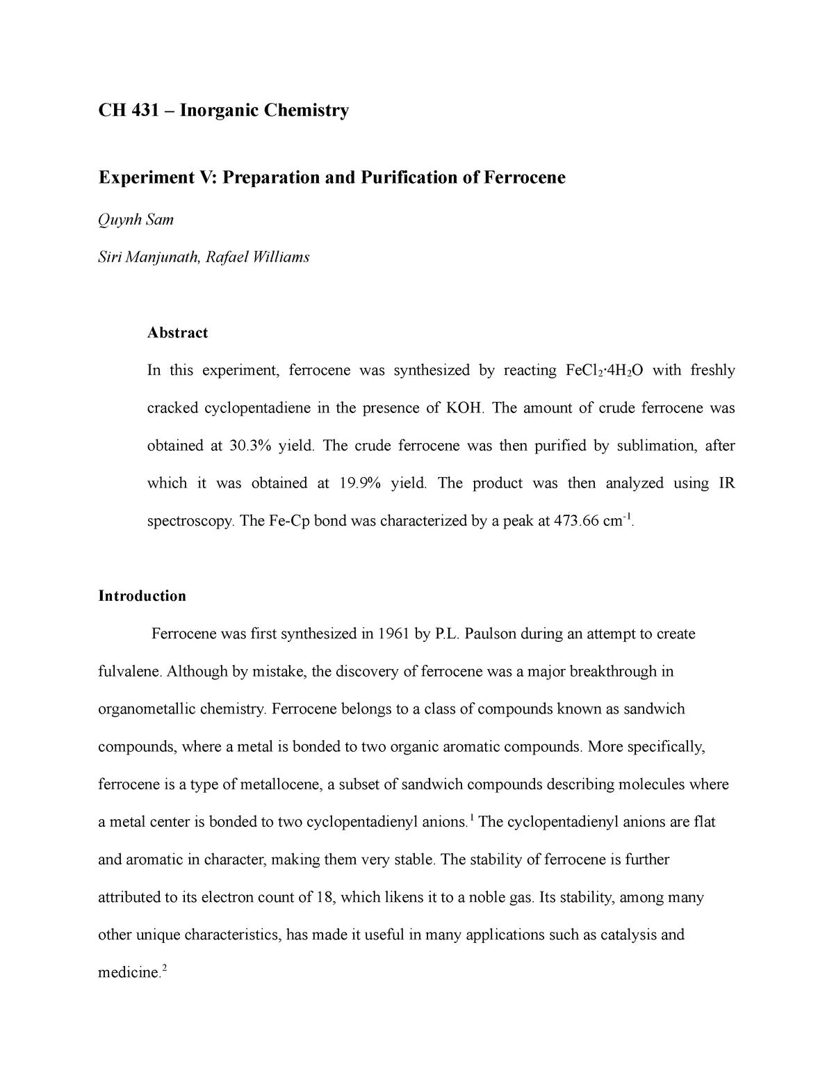 Seminar Assignments - Report For Ferrocene Lab - CH 455