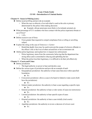 CJ Final Study Guide - professor: danielle swerin - CJ 101