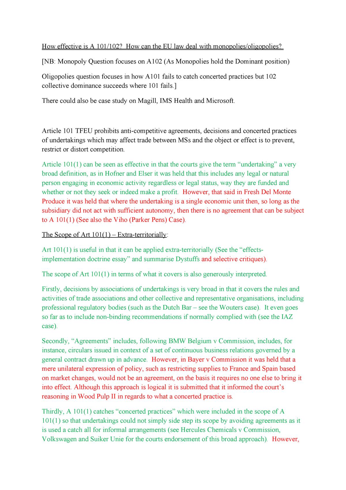 Essay, Effectiveness of 101-102, Dealing With Oligopolies