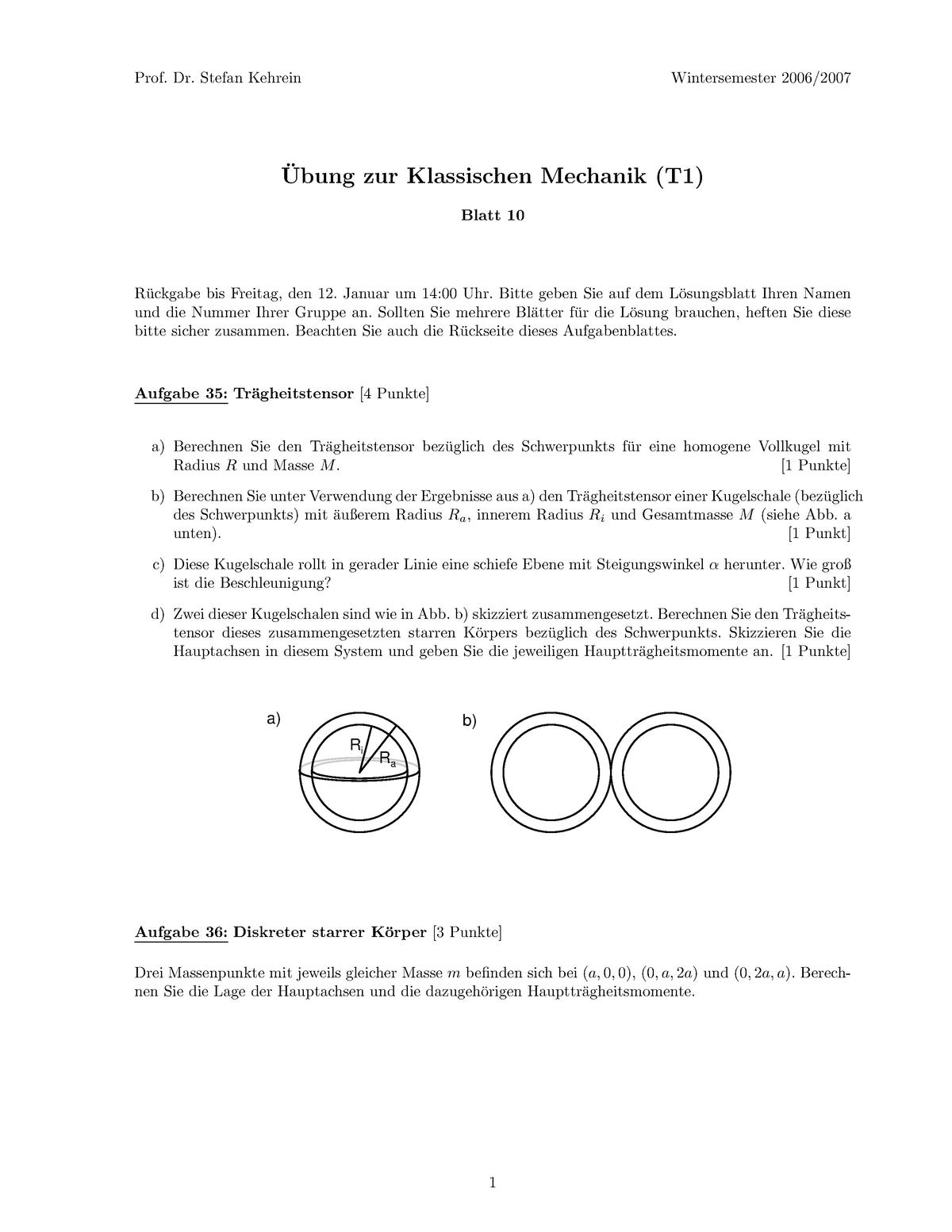 4f7c702df1ef0 Übungen - Übung Mechanik 10 - 533889: Repetitorium für Analytische Mechanik  - StuDocu