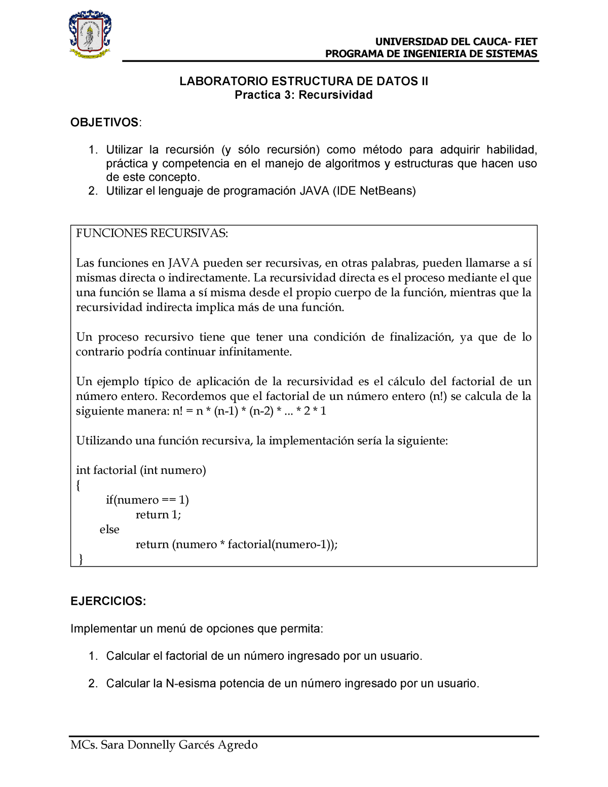 Practica 3 Recursividad Estructura De Datos 2 Sis401 Studocu