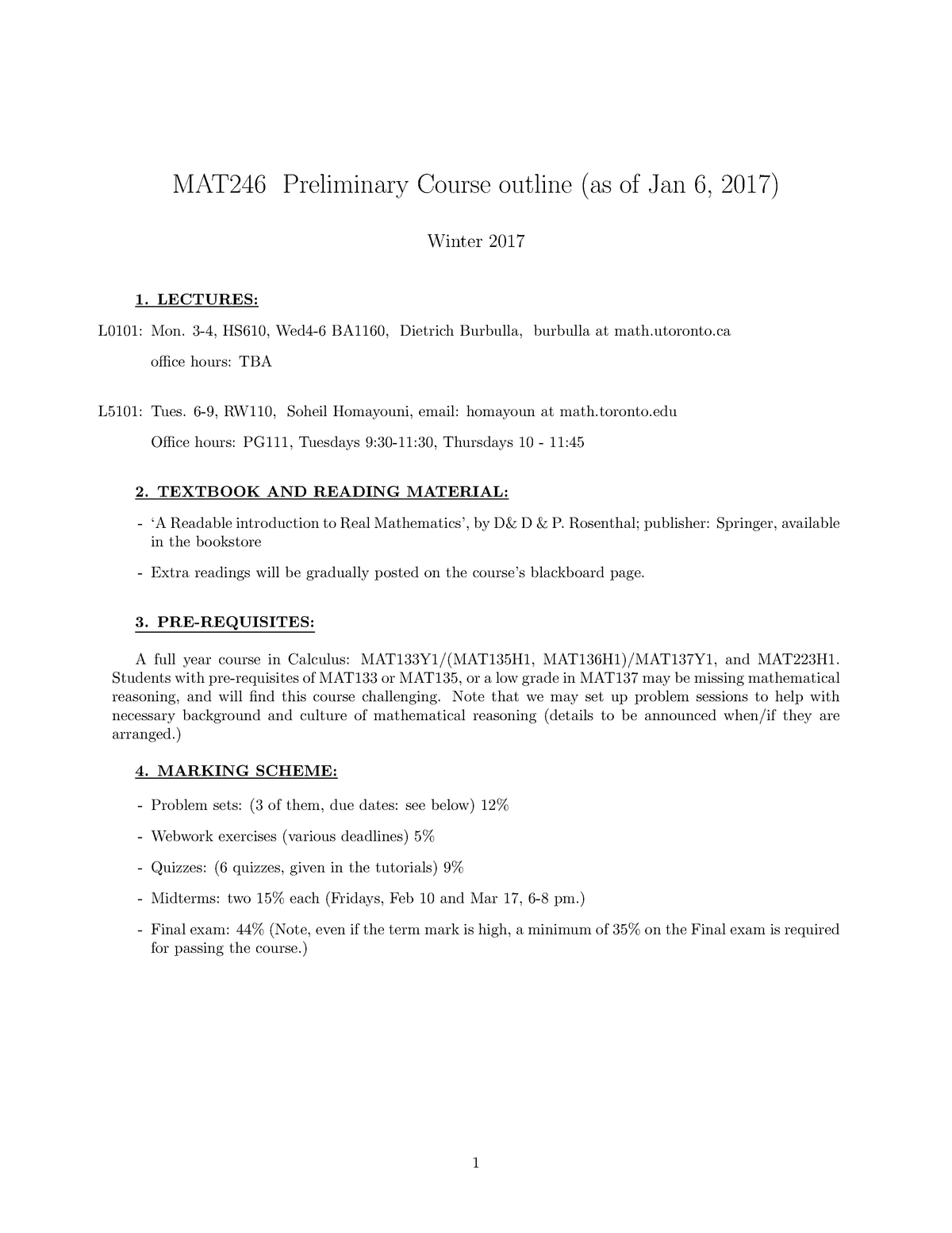 Mat246 syllabus - Mat246H1: Concepts in Abstract Mathematics