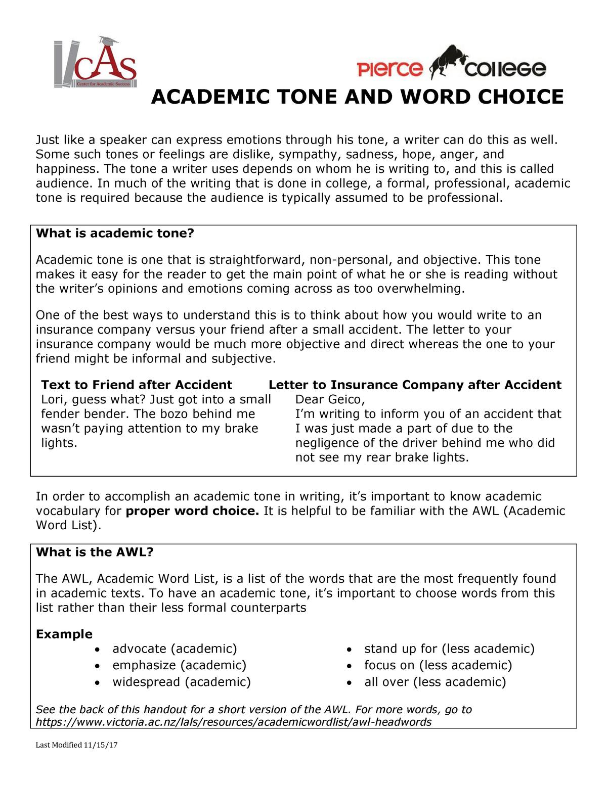 Academic TONE AND WORD Choice - Eng 101: English - StuDocu