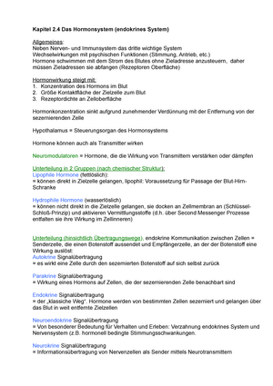 Zusammenfassung - Kapitel 2.4 Hormonsystem - Biologische Grundlagen ...
