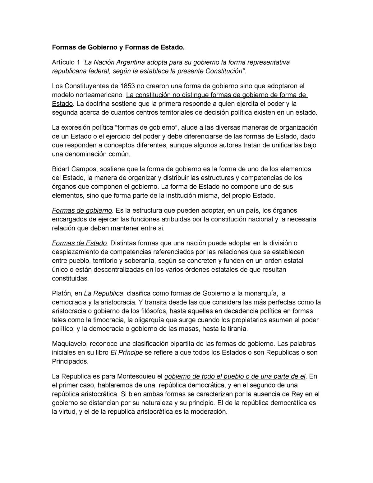 6 Derecho Constitucional Formas De Gobierno Y Formas De