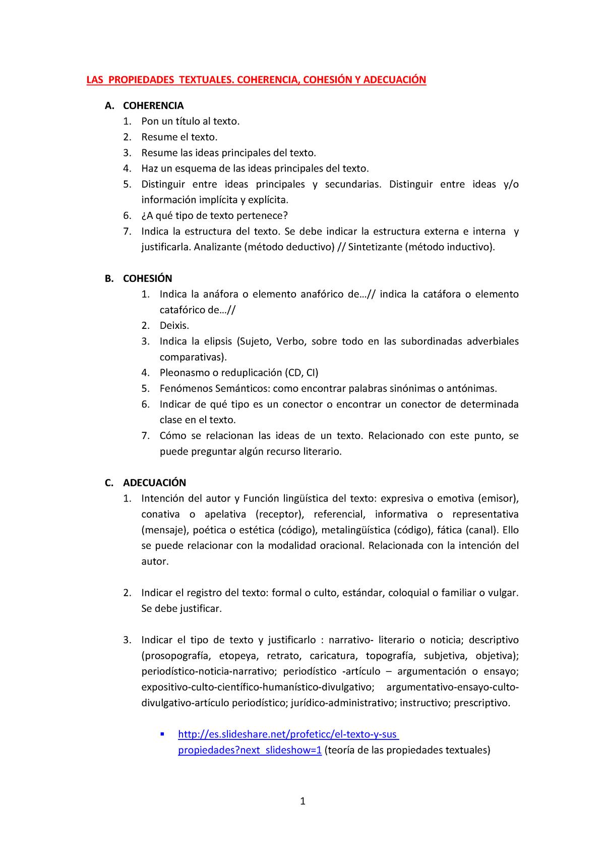 Propiedadestextuales Lengua Castellana Uab Studocu
