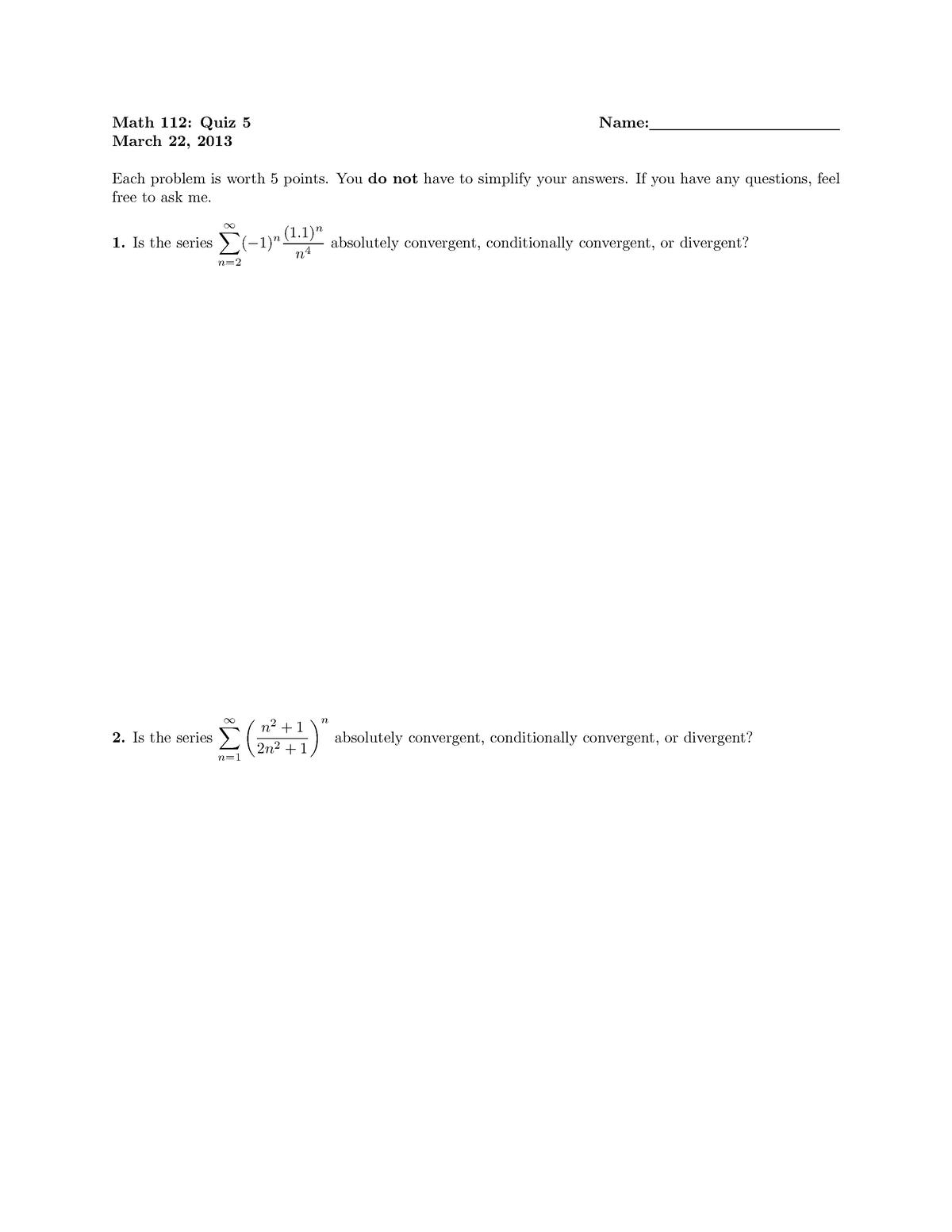 Quiz 5 - MATH 112: Symmetric Functions And Algebraic